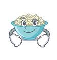 smirking rice bowl character cartoon vector image