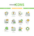 support - modern line design style icons set vector image