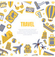 travel banner template with travelling symbols vector image