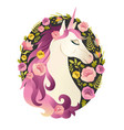 unicorn head in wreath of flowers watercolor vector image
