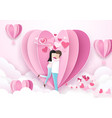 valentines day background couple standing kiss vector image
