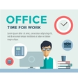 Clerk at Work infographic Office Table Designer vector image
