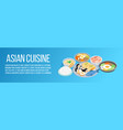 asian cuisine concept banner isometric style