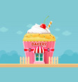 bakery cake shop store building front vector image