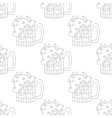 Beer mugs seamless contour vector image