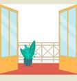 blank balcony view template - open double doors to vector image