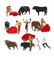 Bullfighting set of corrida people flat design vector image