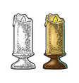 burning candle with holder and fire flame vector image