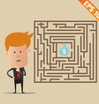 Business man finding exit route of labyrinth vector image vector image