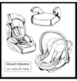 Car seats for baby on white background