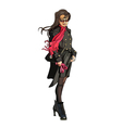 cartoon girl in coat with scarf fluttering in the vector image vector image