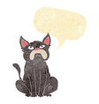 cartoon grumpy little dog with speech bubble vector image vector image
