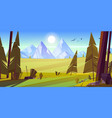 cartoon nature landscape with mountain and field vector image