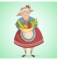 cartoon old woman farmer character vector image vector image
