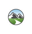 classic mountain scenery logo design concept vector image vector image