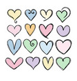 collection cute hand drawn hearts heart icons vector image vector image