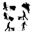 construction workers with wheelbarrow vector image vector image