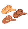 cowboy hat set brown american traditional vector image