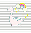 cute dino and rainbow cartoon vector image