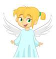 cute happy cartoon girl angel vector image vector image