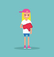 dislike concept displeased blond teenage girl vector image vector image