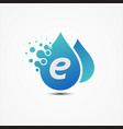 droplet design with letter e symbol design vector image vector image