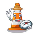 explorer the traffic cone with character shape vector image
