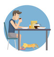 flat design of man eating breakfast at home vector image vector image