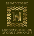 golden letters numbers initial monogram in frame vector image vector image