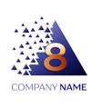 golden number eight logo in blue pixel triangle vector image vector image