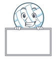 grinning with board volley ball character cartoon vector image vector image