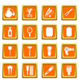 hairdresser icons set orange square vector image vector image