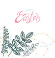happy easter calligraphy and decor flower vector image