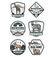 hunting sport retro badges safari and hunter club vector image vector image