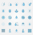 hydropower blue icons set vector image