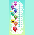 kids height chart with air balloons vector image