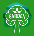 logo tree for the garden on a green background vector image vector image
