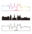 Lublin skyline linear style with rainbow vector image vector image