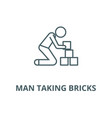man taking bricks line icon linear concept vector image vector image