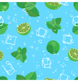 Mojito cocktail lime mint and ice blue water vector image vector image