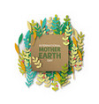 mother earth day card of recycled paper cut leaves vector image vector image