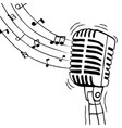 music microphone with musical notes isolated vector image