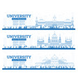 outline set university campus study banners vector image vector image