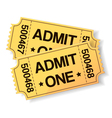 pair of yellow cinema tickets vector image vector image