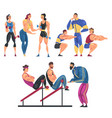 people training in gym set men and women doing vector image vector image
