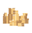 pile of sealed goods cardboard boxes mail box vector image vector image