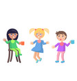 playful little children in babibs flat vector image