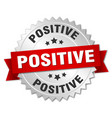 positive round isolated silver badge vector image vector image