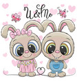 rabbits boy and girl on a hearts background vector image vector image