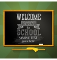 School chalkboard with greeting for welcome back vector image